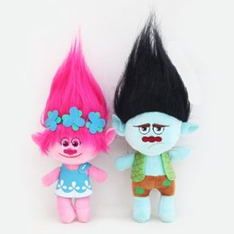 Chinese  Movie cartoon 2pcs Lot 23cm Dream Works Movie Trolls Plush Toy Doll Poppy Branch Stuffed Dolls manufacturers