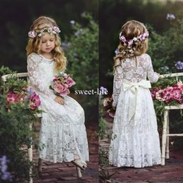 Sexy pageant girlS online shopping - Boho Sweety Long Sleeve Sheath Flower Girls Dresses Jewel Illusion Sexy Back Empire with Bow Lace Appliques Floor length Pageant Gowns