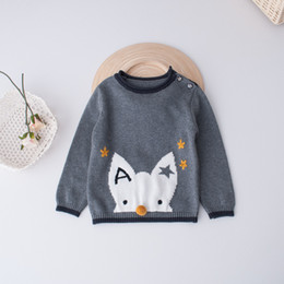 Barato Pulôver De Tricô Fox-Everweekend Kids Girls Cute Cartoon Fox malha de malha Tops Pentagram 2-7Y Blusa do bebê Autumn Children Emboridery Knit Clothing