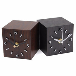 Discount ceramics clocks - Wholesale-New Wood Black Brown Vintage Wooden Cube Clock Table Clock Desktop Gift Home Decor For Creative