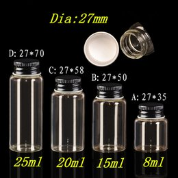 8ml Glass Bottles Canada - 8ml 15ml 20ml 25ml Mini Glass Bottles With Metal Aluminum Screw Black Cap Glass Bottles Weding Gift Jars 100pcs Free Shipping