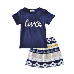 Little Tee Canada - New Summer T-shirts Skirts Outfits For Little Girls Princess Cotton Short Shirts Tees Skirts Children Kids Letter Tops Skirts Sets For 1-5T
