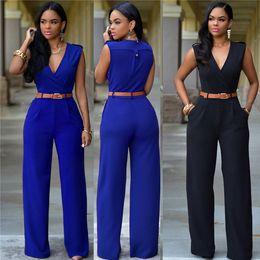 Blue Plus Size Jumpsuit Canada - High waist plus size jumpsuits rompers bodysuit for women V-neck wide leg jumpsuit irregular designer with belt womens bodysuits 15 colour