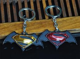 hot toys superman wholesale 2019 - Hot!10pcs 2Style New Styles Cartoon Superman vs Batman Keychain Toys World Animation Classical Fashion Keychain For Men