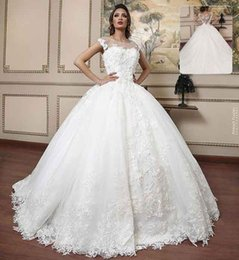 Appliques Style Wedding Dresses NZ - Unique Ivory Lace Ball Gown Wedding Dresses Cap Sleeves Scoop Neck Appliques Plus Size Wedding Dress Arabic Style Chapel Train Bridal Gowns