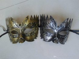Discount vintage cat mask Men's Retro Greco-Roman Gladiator Masquerade Masks Vintage Silver Mask Carnival Mask Mens Halloween Costume Party M