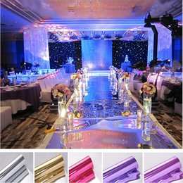 Discount mirrored carpet runner - 10m lot 1m Wide Shine Silver Mirror Carpet Aisle Runner For Romantic Wedding Favors Party Decoration 2017 New Arrival