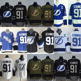 stamkos jersey cheap Canada - Factory Outlet Men's Tampa Bay Lighting #91 Stamkos Black Green Blue White Newest Best Quality Cheap Hot Sale ice hockey jerseys free shippi