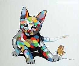 $enCountryForm.capitalKeyWord NZ - Framed Cat Kitten Playing Oil & Mixed Media Modern Pop Art,Hand-painted Cartoon Animal Art oil painting Canvas,Multi size Free Shipping J033