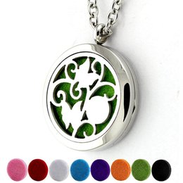 $enCountryForm.capitalKeyWord NZ - Wholesale Aromatherapy Essential Oil Diffuser Hollow Out Necklace Stainless Steel Locket with 24'' Chain & 8 Pads