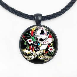 Discount sugar skulls wholesale - Sugar Skull Necklace Skull Jewelry Glass Dome Pendant Necklace