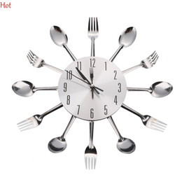 3d modern kitchen wall clock sliver cutlery clocks spoon fork creative wall stickers mechanism design home decor silver clock sv013677