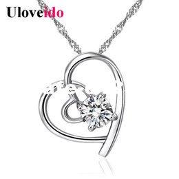$enCountryForm.capitalKeyWord NZ - dhgate 15% Off Heart Necklaces & Pendants Women's Wedding Silver Color Jewellery Necklace Purple Cubic Zirconia Pendant N296