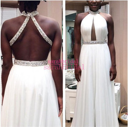 Discount winter dresses for teenagers 2019 Prom Dresses For Summer Homecoming 12y crystal Teenager Girls open back Bling Custom Made Crystals Halter Evening G