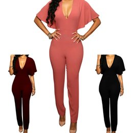 Barato Macacões Soltos Para Mulheres-Jumpsuit Romper Trousers New Elegant Women Short Sleeve V-neck Jumpsuits Macacões Sexy Loose Playsuits Combinaison Femme Bodysuit CWJ0064
