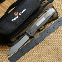 bear claw knives 2019 - Bear claw P60 Tactical flipper folding knives S35VN blade ball bearing TC4 titanium handle outdoor hunting camping survi