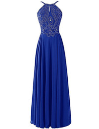S'habille Pas Cher-Evening Long Dress 2017 Livraison gratuite Vestido De Gala Cristaux de luxe perlés Royal Blue Prom Dresses