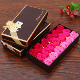 18Pcs Rose Bath Soap Flower Petal Set With Gift Box For Wedding Party Valentine's Day 4 style on Sale
