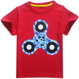 clothes spinner NZ - Kids fidget triangle Spinner T shirt 4 Color New Children cartoon cotton Short sleeve T-shirt baby kids clothes DHL Shipping A 080