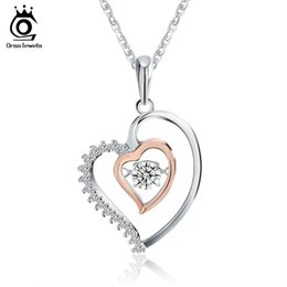 $enCountryForm.capitalKeyWord Canada - Genuine 925 Silver Double Heart Pendant Necklace with 0.3 ct Crystal Rhodium mixed Rose Gold Color Necklaces SN15