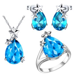 Chinese  Plated NEW set of 925 Sterling Silver custom star set pendant Ear Ring Semi Precious Stones manufacturers