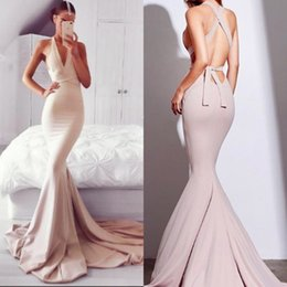 Discount cross back dresses red carpet - Sexy Criss Cross Bandage Mermaid Evening Dresses Formal Occasion Gowns V Neck Stretchy Long Train Prom Gowns Party Wears