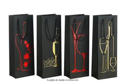 $enCountryForm.capitalKeyWord Australia - Custom paper bags with foil stamping red gold silver for red wine bottle Black paperboard with handles printing matt surface high quality