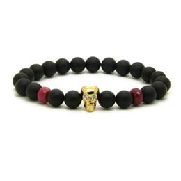 Fire agate wholesale online shopping - Jewelry Cheap mm Matte Purple Fire Agate Stone With Heart Cz Skull Lovers Macrame Bracelets