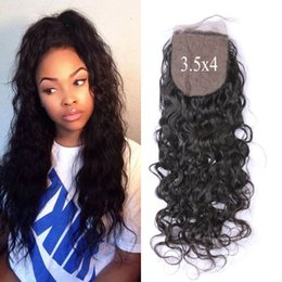 $enCountryForm.capitalKeyWord NZ - Virgin Peruvian Water Wave Human Hair Silk Base Closure 3.5*4inch Bleached Knots Free Middle Three Part LaurieJ Hair