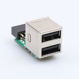 internal ide cable UK - Wholesale- Internal PC USB 2 Port 2.0 9Pin Female to 2 Port A Female Adapter Converter Motherboard PCB Board Card Extender New arrival