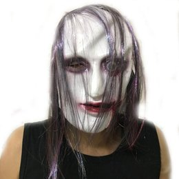 Long Face Mask NZ - Wholesale 2017 Full Face Scary Zombie Latex Mask Long Hair Horror Masquerade Adult Cosplay Party Halloween Props Haunted House Decoration