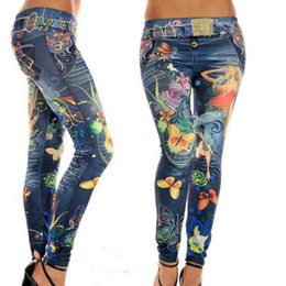 Thin Leggings Wholesale UK - Wholesale- Fashion Leggings Jeans for Women Flower Butterfly Print Ankle-length Thin Mid Waist Elastic