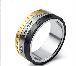 Roman Numerals Ring Wholesale Australia - Europe Titanium steel rotate ring Three color calendar Roman numerals time ring size 7-12#
