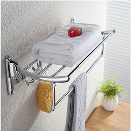 $enCountryForm.capitalKeyWord NZ - New Fashion Creative Stainless Steel Folding Towel Rack With Hooks Bathroom Bathroom Accessories Racks Top Quality Direct Factory Price