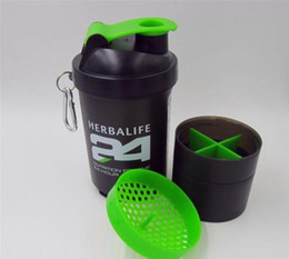 Powder Drinks Canada - 500ml Herbalife24 Sectional Shake Bottle With Stainless Steel Wire Whisk Herbalife Nutrition Protein Powder Shaker Bottle