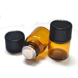 Amber glAss bottles screw online shopping - 1ml clear mini Glass Bottles with Orifice Reducer and Cap for Essential Oil amber Bottle Dram
