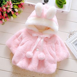Oreilles Enfants Pas Cher-Ins Girls Blazer Jackets Kids Bunny Ear Outre-manteaux pour enfants Outfit Hoodies avec Pompom Soft Keep Warm Kids Clothing Toddler Jacket