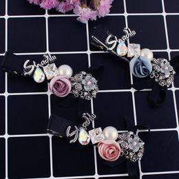 $enCountryForm.capitalKeyWord Canada - mix color fashion women hairclips Korean elegant crystal pearl hair clips rose flower barrettes