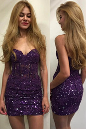 Discount sweetheart above knee lace dress - Dark Purple Short Homecoming Party Dresses 2017 Strapless Sweetheart Backless Bodycon Lace Sequined above Knee Cocktail