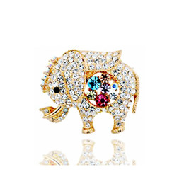 Flower Brooches UK - New Cute Elephant Animal Brooches Colorful Rhinestone Flowers Brooch for Women Girls Scarf Pin 18K Gold Plated Jewelry Wholesale
