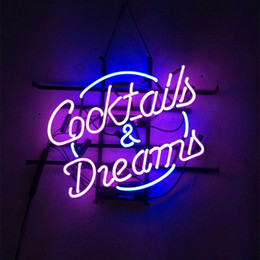 """Cocktail Light Sign Canada - 17""""x14"""" COCKTAIL & DREAMS CUSTOM REAL GLASS TUBE NEON LIGHT BEER BAR PUB CLUB STORE DISPLAY SIGN"""