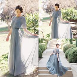$enCountryForm.capitalKeyWord NZ - 2019 Elegant Boho Long Bridesmaid Dresses Scoop Short Sleeves Sexy Back Maid Of Honor Gowns A Line Chiffon Party Wedding Guest Dress DTJ