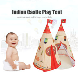 Discount kids safety games - Wholesale- Natural Indian Pattern Children Toy Tent Teepees Safety tipi Portable Indoor Game Tents Outdoor Tente Enfant