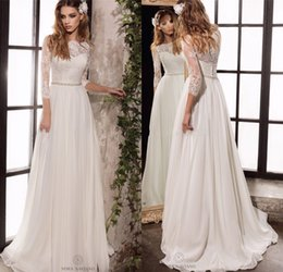 line bateau chiffon lace 2018 - Long Sleeve Lace Wedding Dresses 2017 New Simple Elegant Wedding Gowns Bohemian Wedding Dresses with Long Sleeves discou