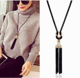 $enCountryForm.capitalKeyWord Canada - Free Shipping Classic Black Tassel Long Necklace Women Bijoux New Fashion Jewelry Black Chain Necklaces & Pendants Wholesale