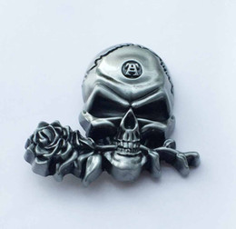 $enCountryForm.capitalKeyWord NZ - Silver Rose Skull Cowboy Belt Buckle SW-BY712 suitable for 4cm wideth snap on belt with continous stock