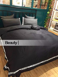 Famous brand logo C 100% cotton Bedding Sets embroidery logo Black & White Home Textile 4pcs Queen King Size Duvet Cover Set from textile weaving machines manufacturers