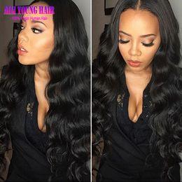 Pelucas llenas del cordón del pelo humano para las mujeres negras pelucas delanteras del cordón Pelucas delanteras del cordón del pelo humano indio de la onda del cuerpo con el pelo del bebé en venta