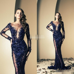 Robe Bleue À Long Tulle Pas Cher-Ziad Nakad 2016 Celebrity Robes Mermaid Royal Blue Bling Sequins Voir à travers avec Long manches Sweep Train Robes de soirée Longes Robes de bal