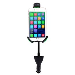 Discount iphone 5s car charger holder Wholesale- car Vodool Universal 12V Car Cigarette Phone Holder Mount Stand Dual USB Charger For iPhone 5 5s 6 6s Samsung